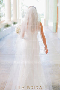 Waterfall One Tier Chapel Length Ivory Wedding Veil