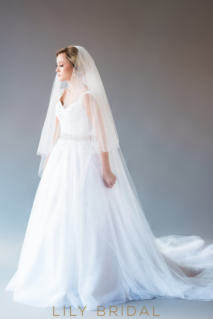 two tier bridal veil