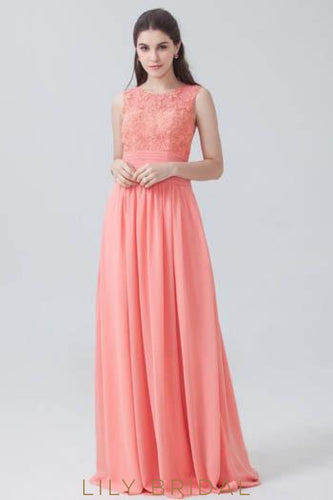 Watermelon Chiffon Jewel Neck Pleated Bridesmaid Dress With Lace Top