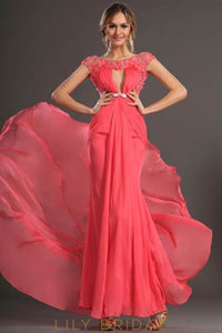 Watermelon Chiffon Scoop Neck Beaded Mermaid Evening Dress With Keyholes