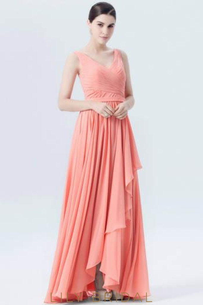 Watermelon Chiffon V-Neck Floor-Length Overlap Bridesmaid Dress With Ruched Bodice