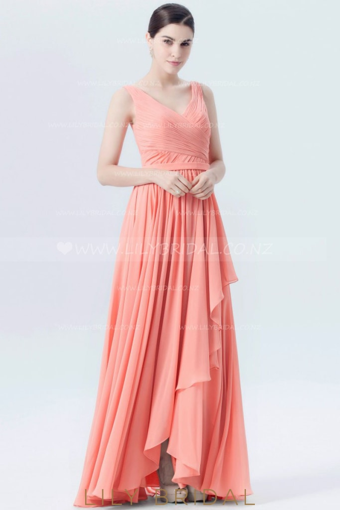 Watermelon Chiffon V-Neck Floor-Length Overlap Formal Evening Dress With Ruched BodiceWatermelon Chiffon V-Neck Floor-Length Overlap Bridesmaid Dress With Ruched Bodice