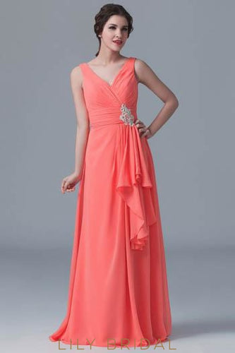 Watermelon Chiffon V-Neck Long Bridesmaid Dress With Applique