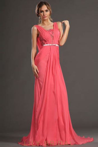 Watermelon Cowl Back Beaded Sweep Train Chiffon Evening Dress With 3D Flowers