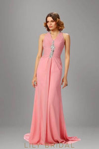 Watermelon Halter Sweep Train Chiffon Formal Evening Dress With Beads
