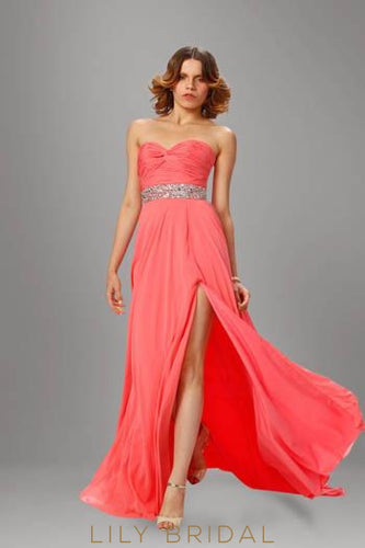 Watermelon Strapless Sweetheart Sweep Train Split Chiffon Evening Dress With Beaded Belt