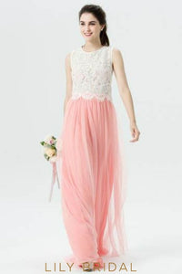 Watermelon Tulle Jewel Neck Two-Piece Bridesmaid Dress With Lace Bodice