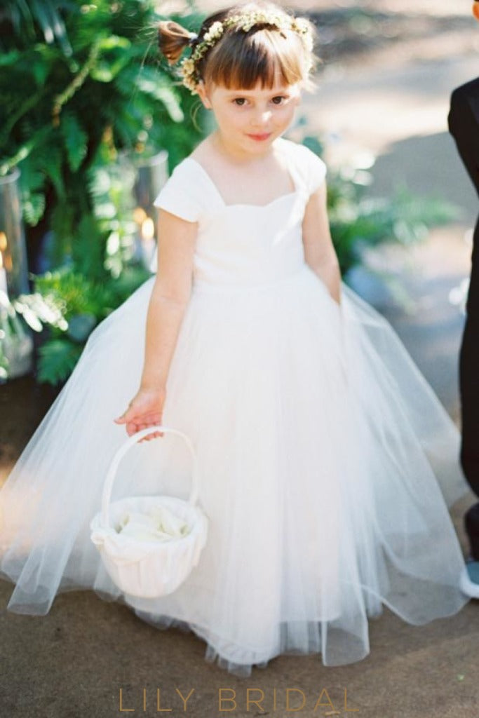 White Cap Sleeve Sweetheart Floor-Length Ball Gown Tulle Flower Girl Dress With Bowknot