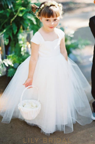 f43a1c8f998 White Cap Sleeve Sweetheart Floor-Length Ball Gown Tulle Flower Girl Dress  With Bowknot