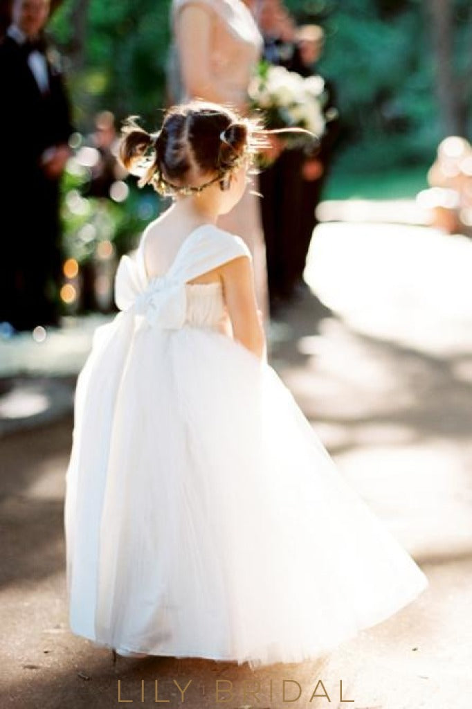 Cap Sleeve Sweetheart Floor-Length Ball Gown Tulle Flower Girl Dress With Bowknot