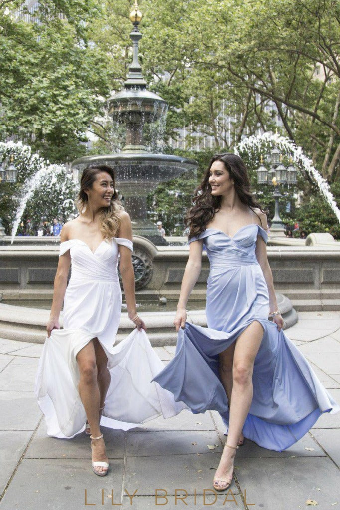 Off-The-Shoulder Sheathe Satin Bridesmaid Dress With Slit
