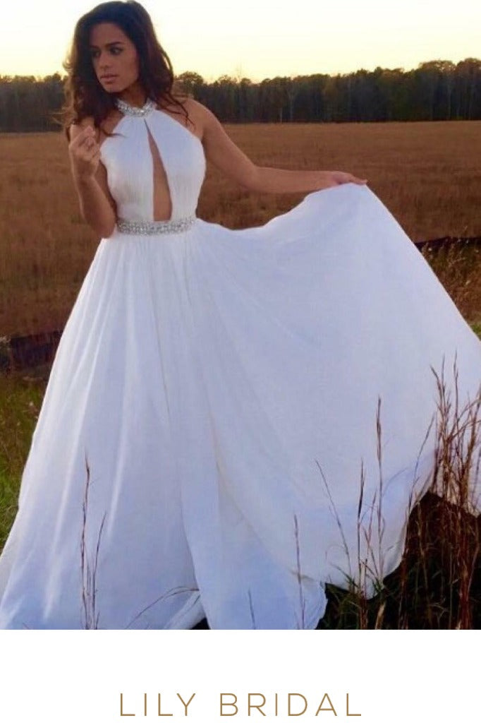 White Chiffon Sleeveless High Neckline Floor Length Bridal Dress with Beads
