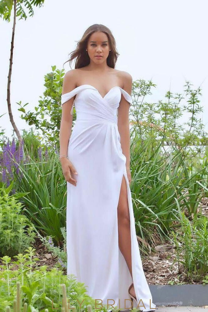 Long Off-The-Shoulder Satin Bridesmaid Dress With Slit