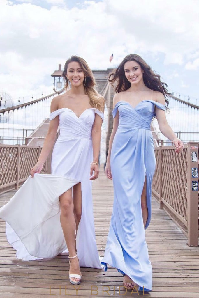 Long Off-The-Shoulder Sheathe Satin Bridesmaid Dress With Slit