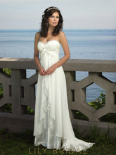 Ivory Chiffon Lace Strapless Sweetheart Neckline Wedding Dress