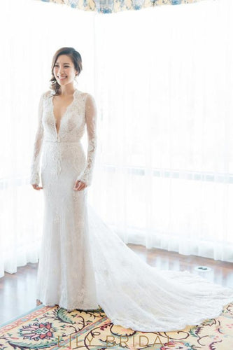 White Fit and Flare Lace Plunging V-Neckline With Chapel Train Bridal Dress