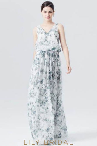 White Floor-Length Floral Print Evening Dress With V-Neck