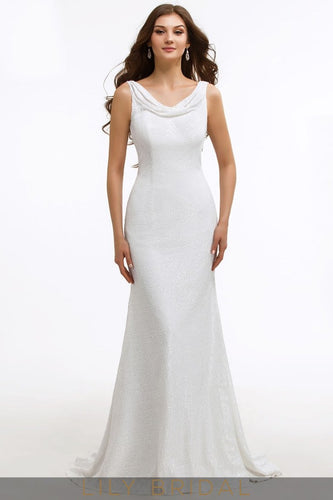 White Cowl Neckline Sleeveless Sweep Train Mermaid Mother of the Bride Dress