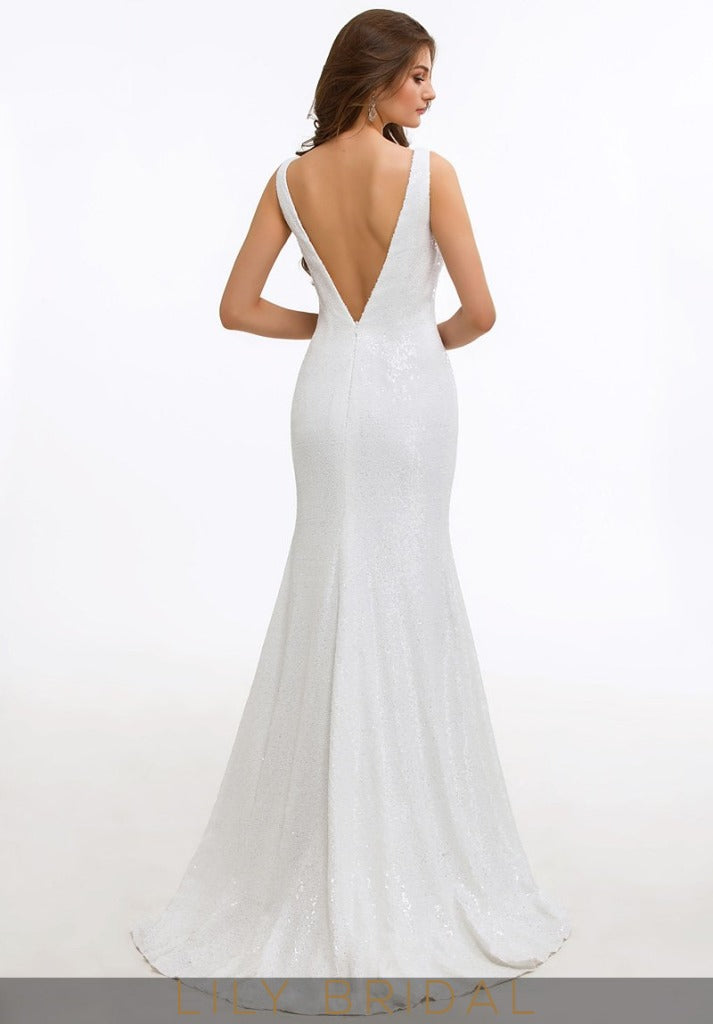 White Cowl Neckline Sleeveless Sweep Train Mother of the Bride Dress