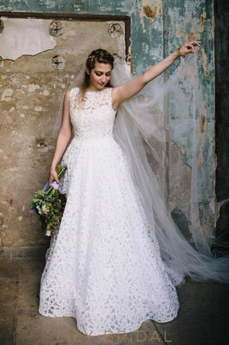 White Lace Bateau Neckline Floor Length Floral Rustic Wedding Dress