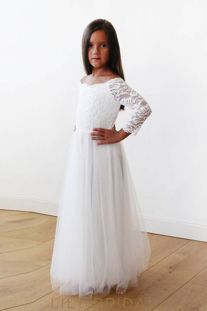 White A-Line Floor-Length Tulle Flower Girl Dress With Off-The-Shoulder 3/4 Sleeve Lace Bodice