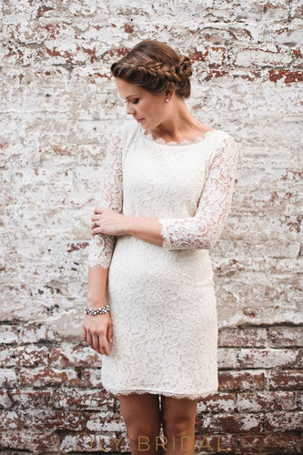 White Lace Short Wedding Dress with Bateau Neckline Elbow Sleeve