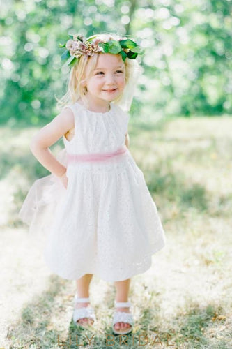White Lace Jewel Sleeveless Tea Length A-Line Flower Girl Dress With Sash
