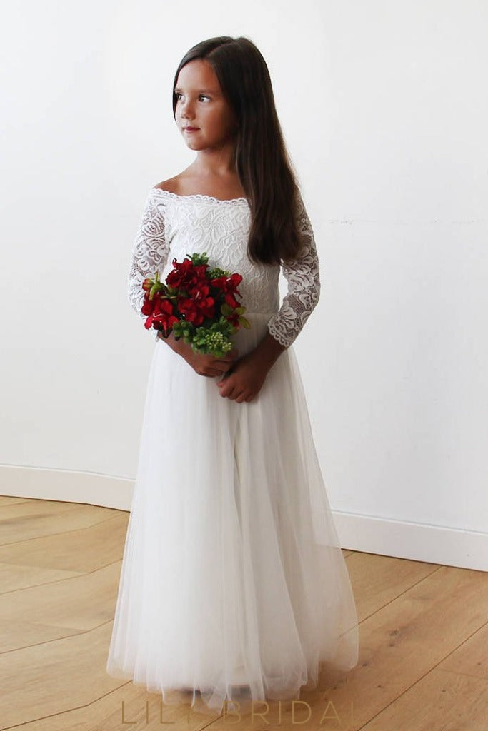 A-Line Floor-Length Tulle Flower Girl Dress With Off-The-Shoulder 3/4 Sleeve Lace Bodice
