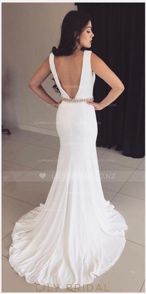 White Open Back Low V-Neck Court Train Jersey Evening Dress With Beaded Belt