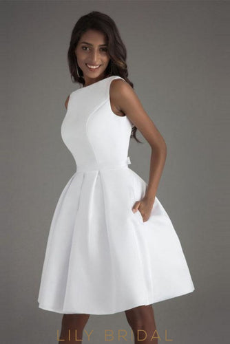 White Satin Bateau Neckline Sleeveless A-line Cocktail Dress with Pocket