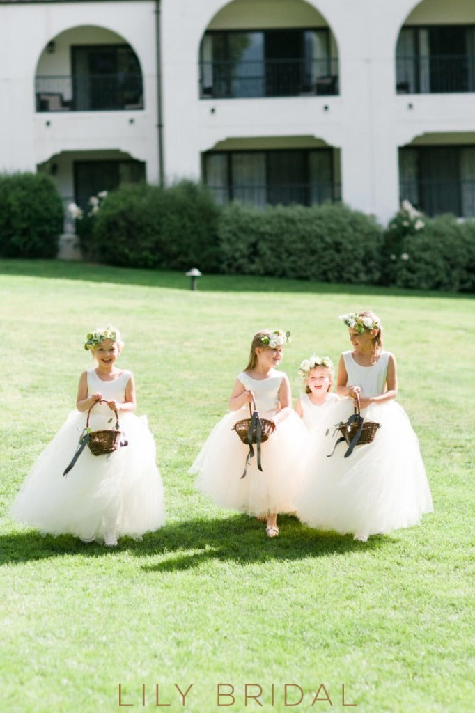 Scoop Neck Floor-Length Tulle Flower Girl Dress With Satin Bodice