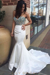 White Satin Strapless Sweetheart Beaded Mermaid Prom Dress with Court Train