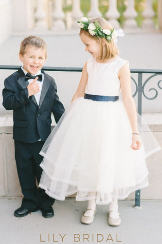 White Tulle Tea-Length Layered Ball Gown Flower Girl Dress With Belt