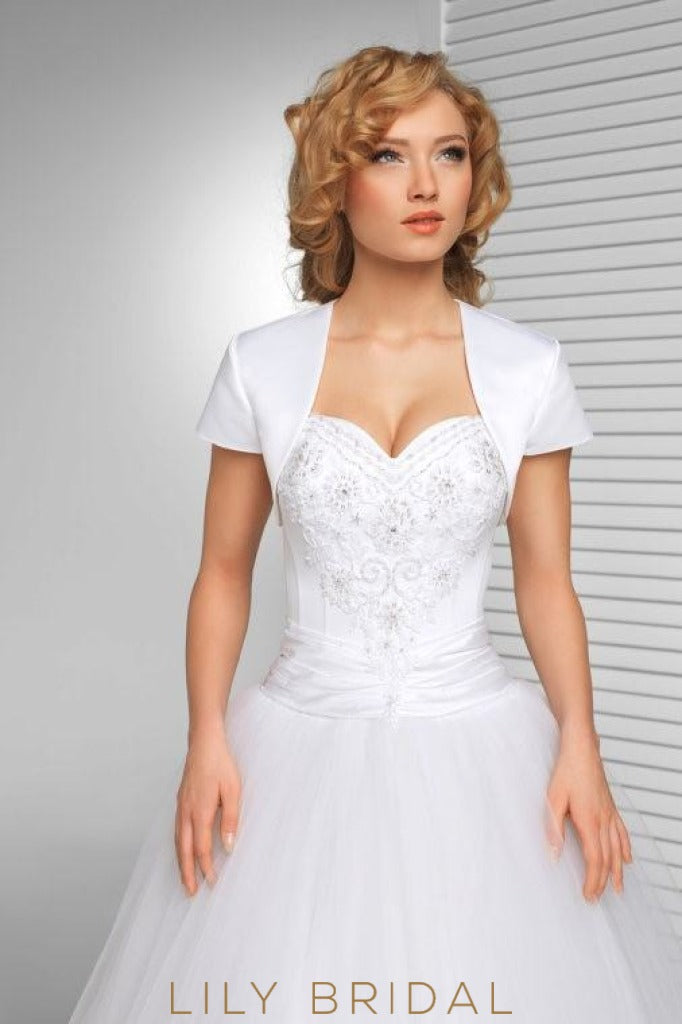 White Short Sleeve Satin Weeding Jacket