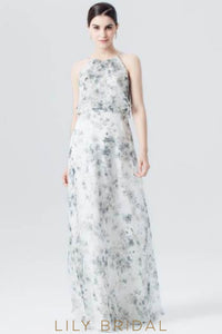 White Spaghetti Strap Floral Print Evening Dress