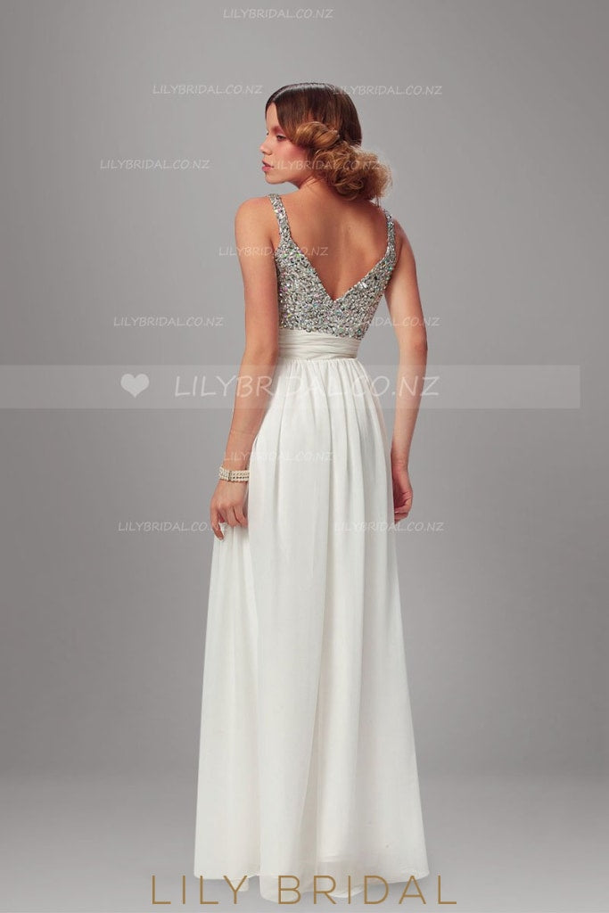 White Strap A-Line Floor-Length Chiffon Evening Dress With Beaded Bodice