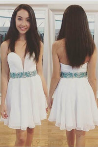 White Strapless Chiffon Cocktail Dress With Beaded Belt