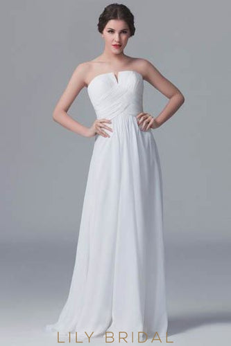 White Strapless Sweep Train Chiffon Bridesmaid Dress With Ruched Bodice
