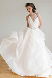 White Tulle Floor-length Sleeveless V-Neckline Wedding Dress