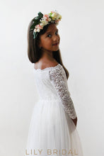 White Floor-Length Tulle Flower Girl Dress With Off-The-Shoulder 3/4 Sleeve Lace Bodice