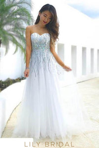 White Tulle Sweetheart Strapless Beaded Long Prom Dress