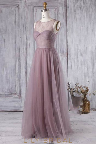 Wisteria Floor-Length Sheer Tulle Bridesmaid Dress With Lace