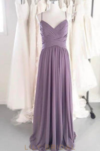Wisteria Spaghetti Strap Pleated Chiffon Bridesmaid Dress With Ruched Bodice