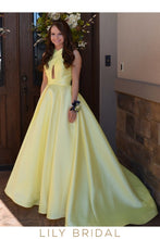 Daffodil Satin Sleeveless Criss-Cross Neckline Prom Dress With Sweep Train
