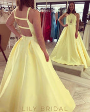 Yellow Sleeveless Stripped Back Prom Dress with Empire Waist