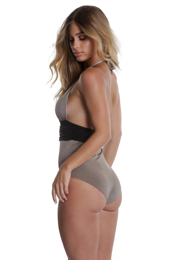 COTE D'AZUR ONE PIECE TAUPE/BLACK