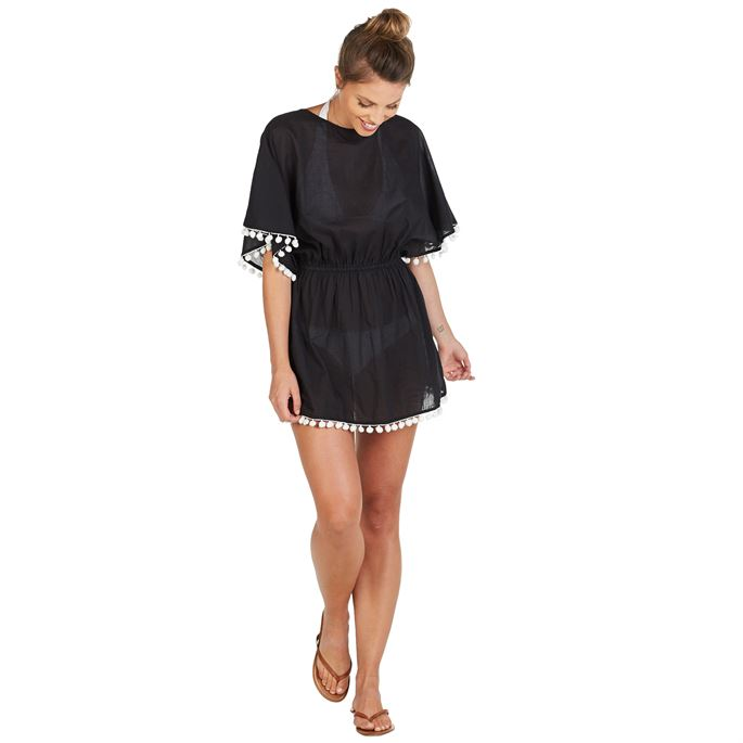 Kiara Tassel Cover Up Black