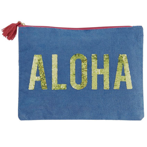 Navy Aloha Sequin Jute Carry All Case