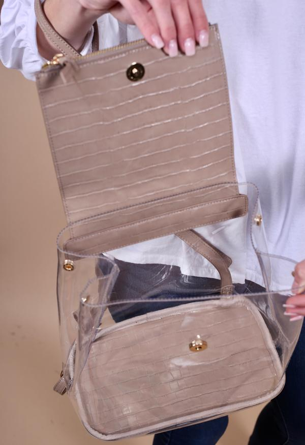 Carmela Clear Back Pack - Croc Tan