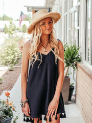 Throw and Go Tassel Mini Dress